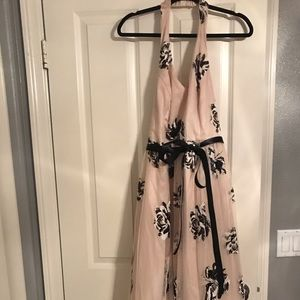 Blush Black and White Glitter Floral Gown
